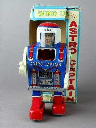 Astro Captain Tin Wind up Robot in Box