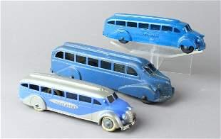 3 Diecast Greyhound Buses