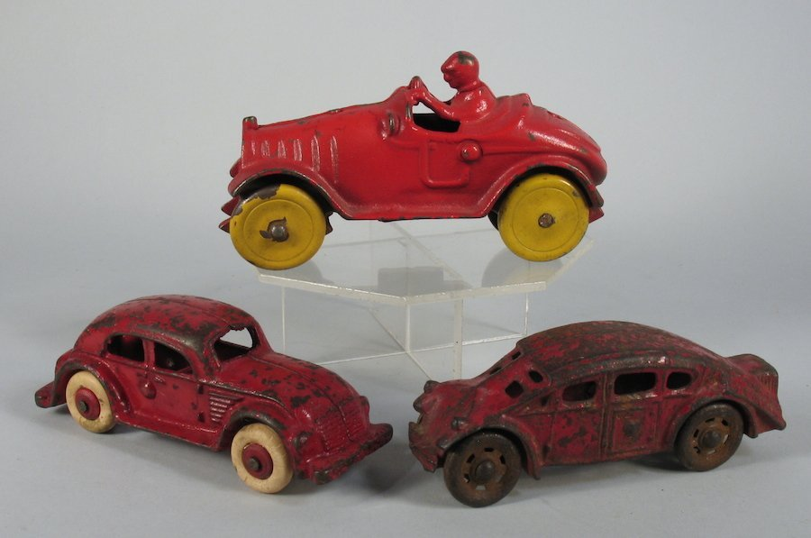 3 Cast Iron Cars- Coupes & Open Touring Car