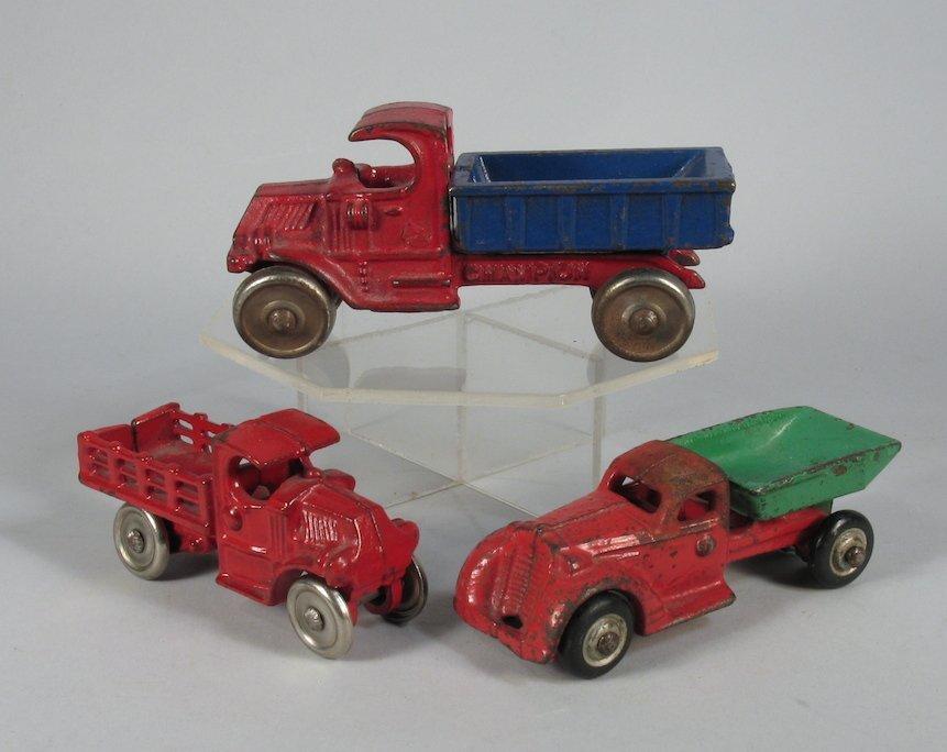 3 Cast Iron Work Trucks Hubley & Champion