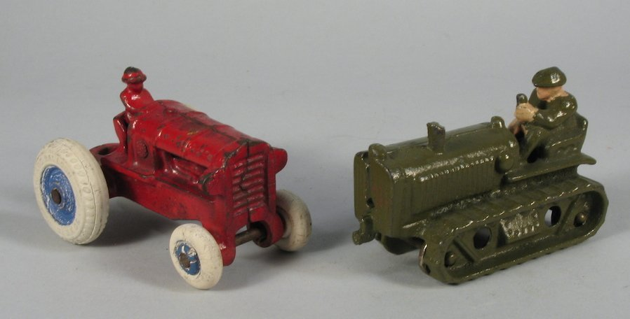 Hubley Army Tractor and Red Tractor
