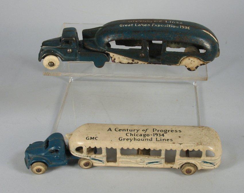 Pair of Arcade Cast Iron Greyhound Buses