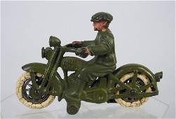 Hubley Cast Iron Motorcycle with Civilian Rider