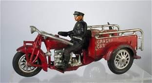 Large Hubley Cast Iron Crash Car Motorcycle & Rider
