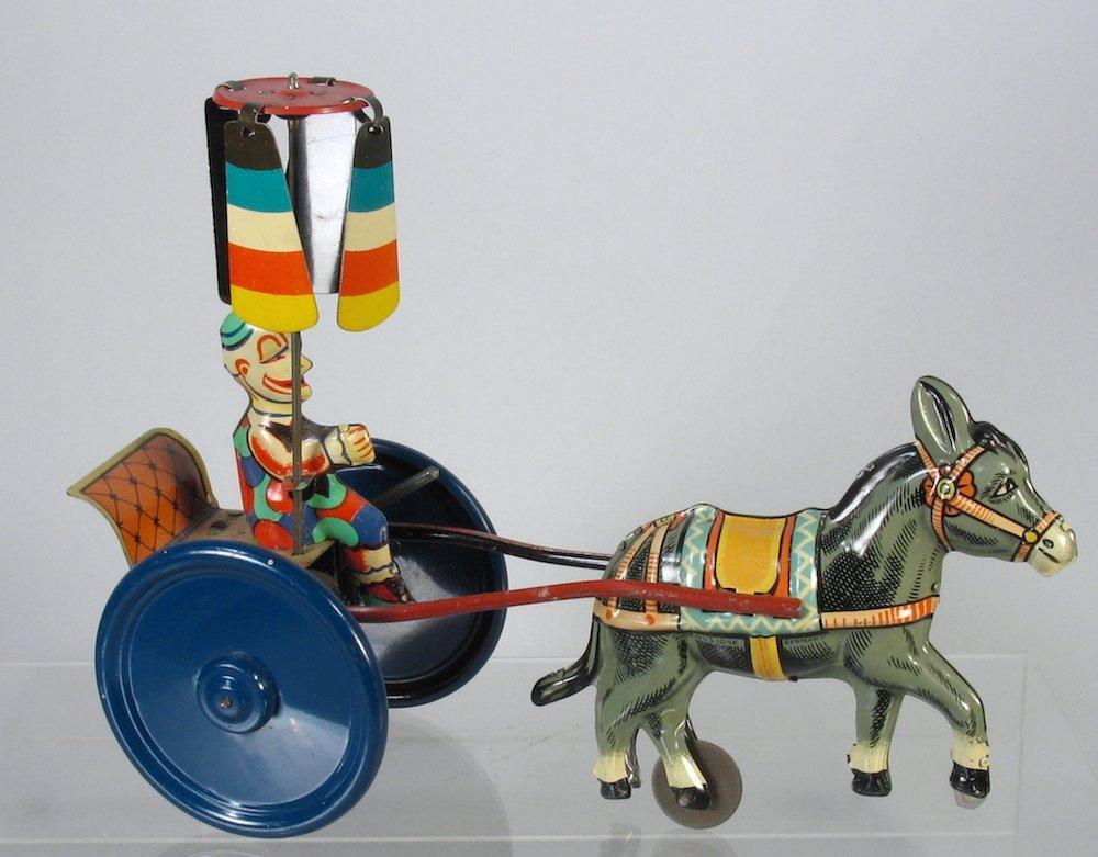 Gama German Tin Clown Cart with Spinning Umbrella
