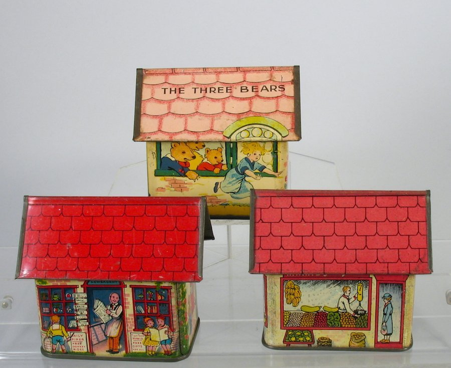Three Geman Tin Candy Container Buildings