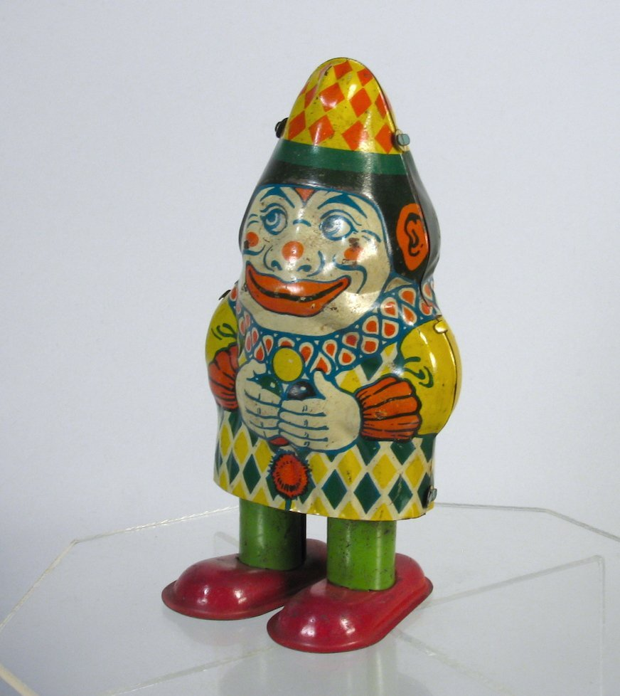 Early J. Chein Tin Wind Up Clown Toy
