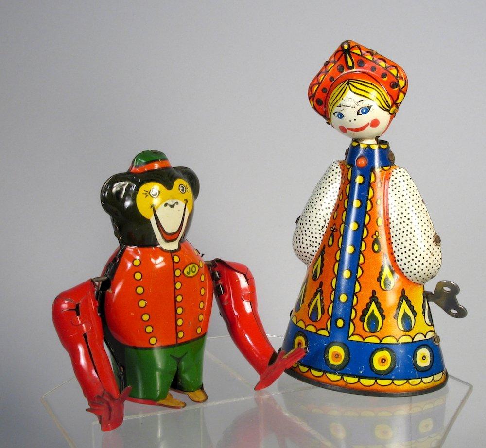Rollover Monkey Bellman & Doll WInd Up Tin Toys