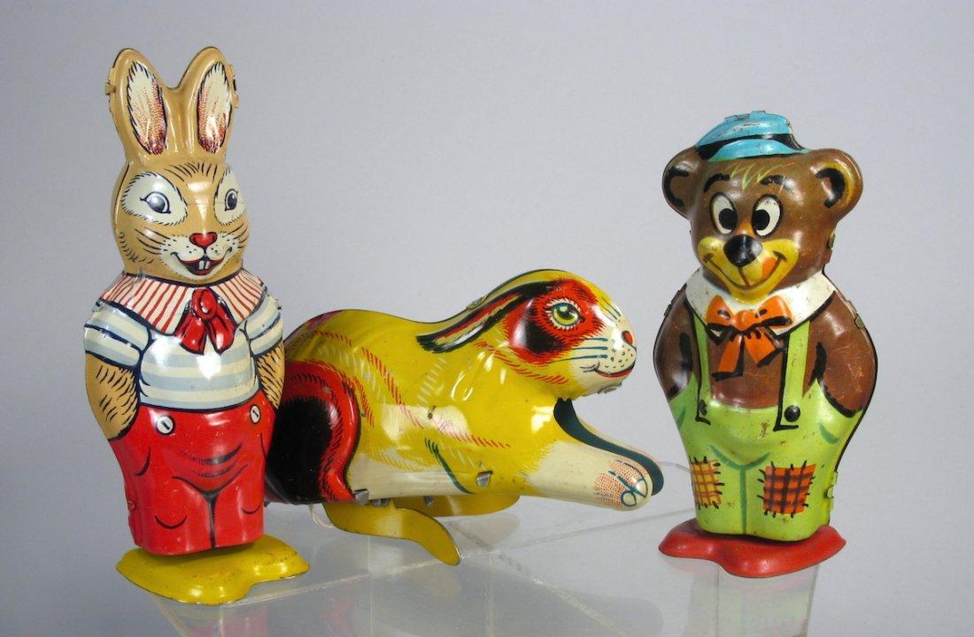Three J. Chein Wind Up Tin Toys