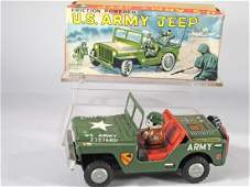 US Army Jeep Tin Litho Yone Friction Japan in Box