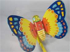 J Chein Butterfly Tin Push Toy