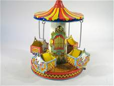 J Chein Mery go Round Swing Ride Tin Wind Up Toy