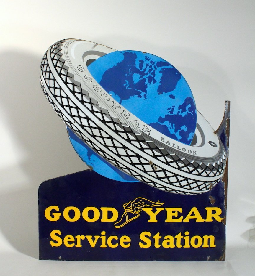 Good Year Service Station Tire Around Earth Sign