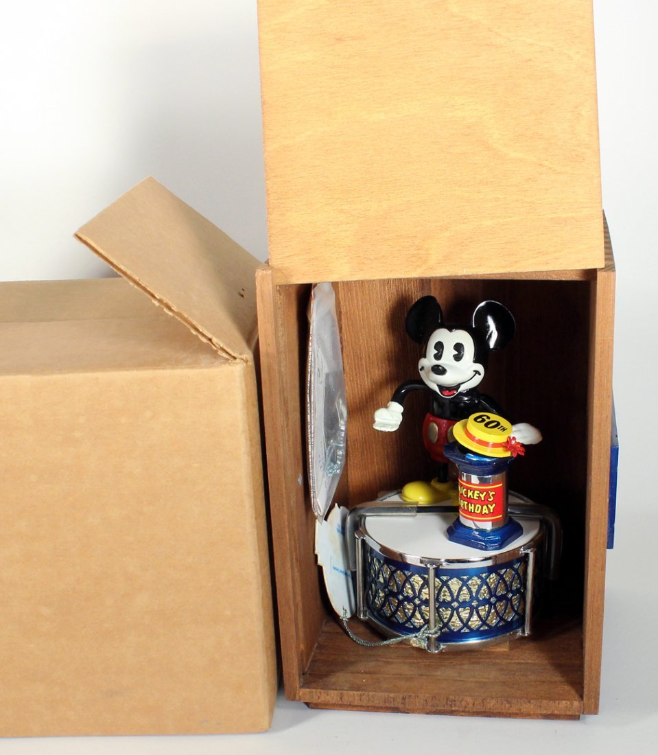 Mickey Mouse Cast Iron Bank In Wooden Box