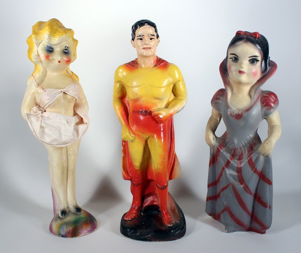 Chalkware Superman, Snow White, and Pin Up Girl