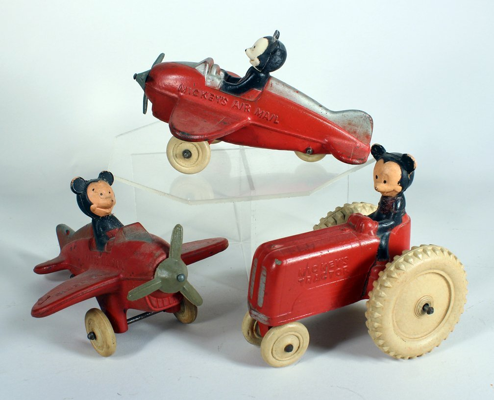 Mickey Mouse Sun Rubber Airplanes & Tractor