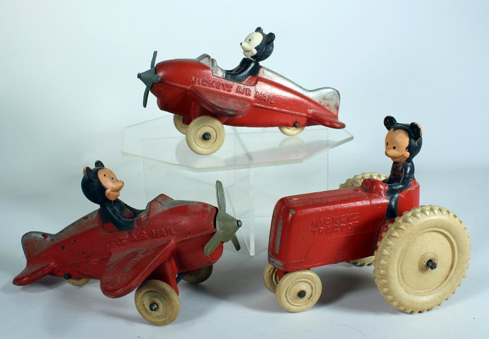 Mickey Mouse Sun Rubber Airplanes & Tractor - 2