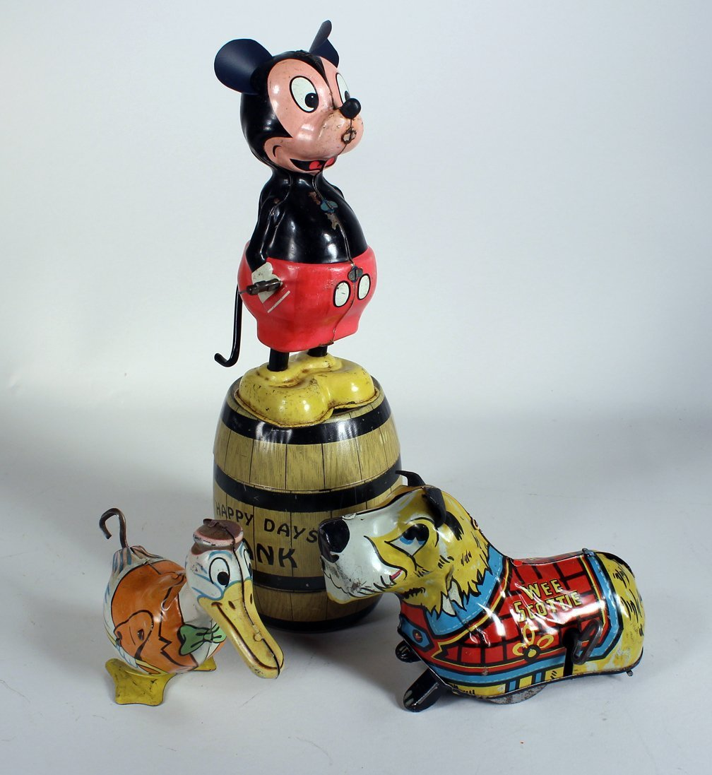 Linemar Mickey Mouse, Marx & Chein Tin Toys - 2