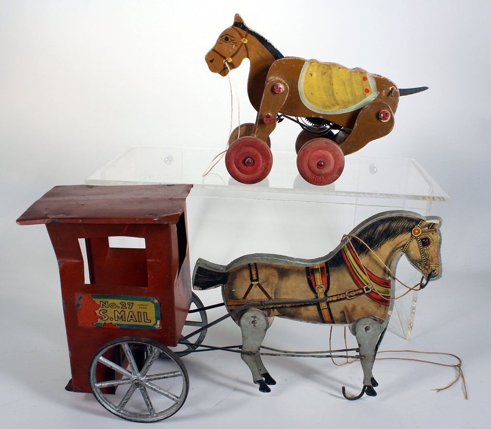 Gibbs US Mail Horse Drawn Cart and Wind Up