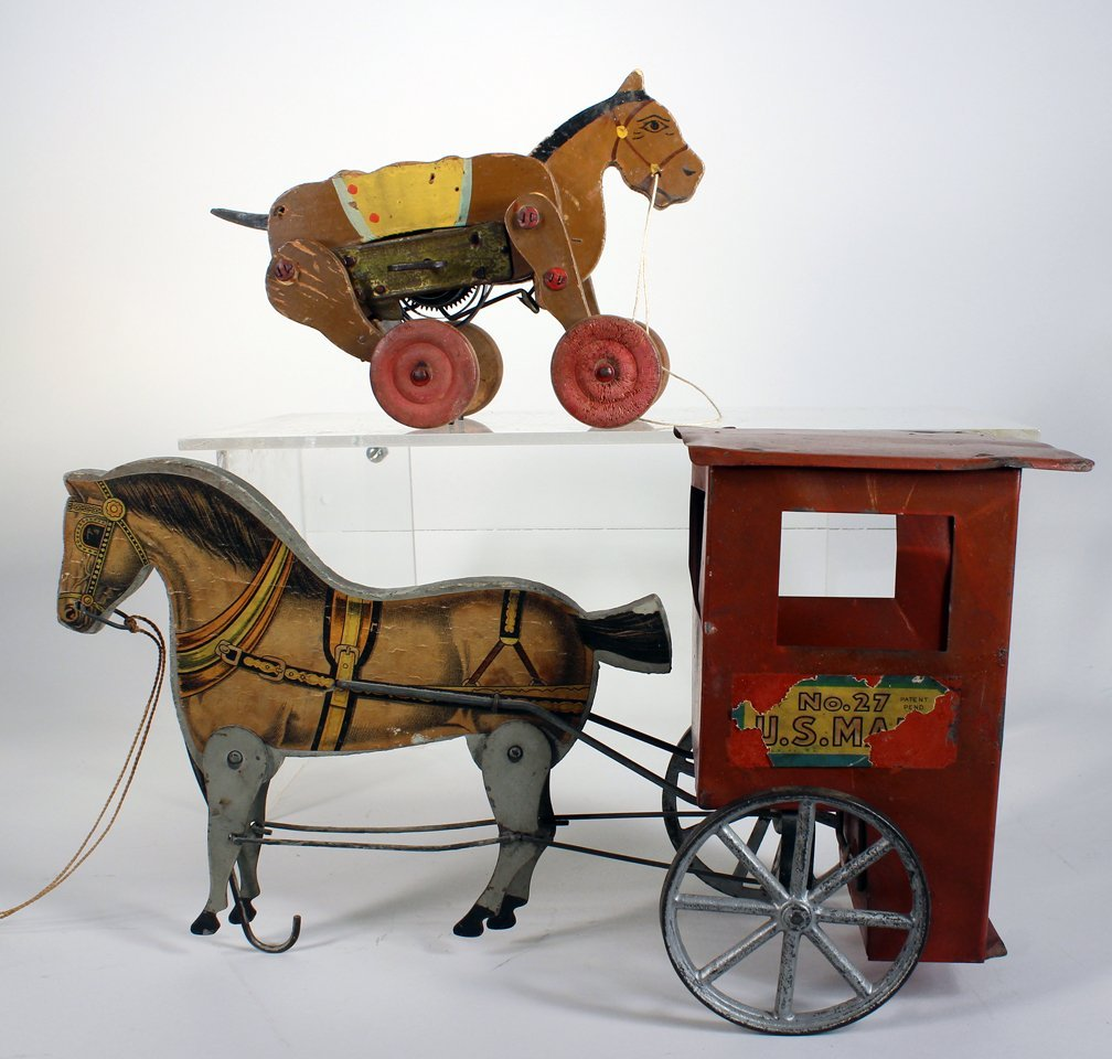 Gibbs US Mail Horse Drawn Cart and Wind Up - 2