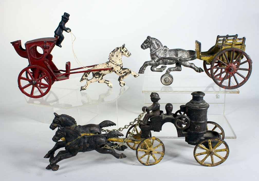 3 Horse Drawn Cast Iron Toys Hubley/Wilkins