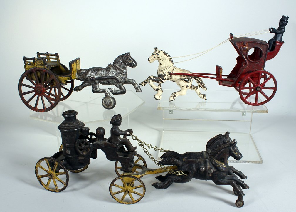 3 Horse Drawn Cast Iron Toys Hubley/Wilkins - 2