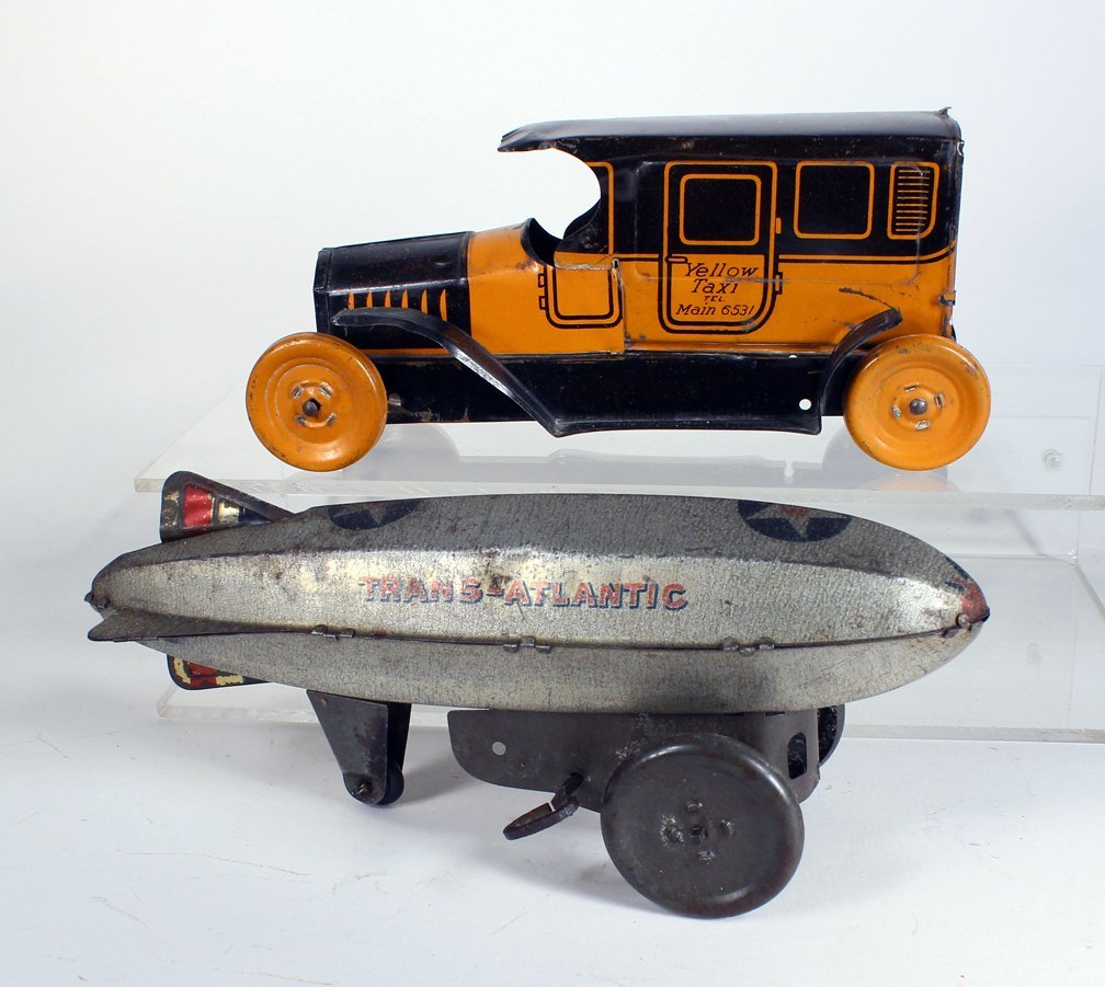 Chein Taxi and Marx Wheeled Zeppelin