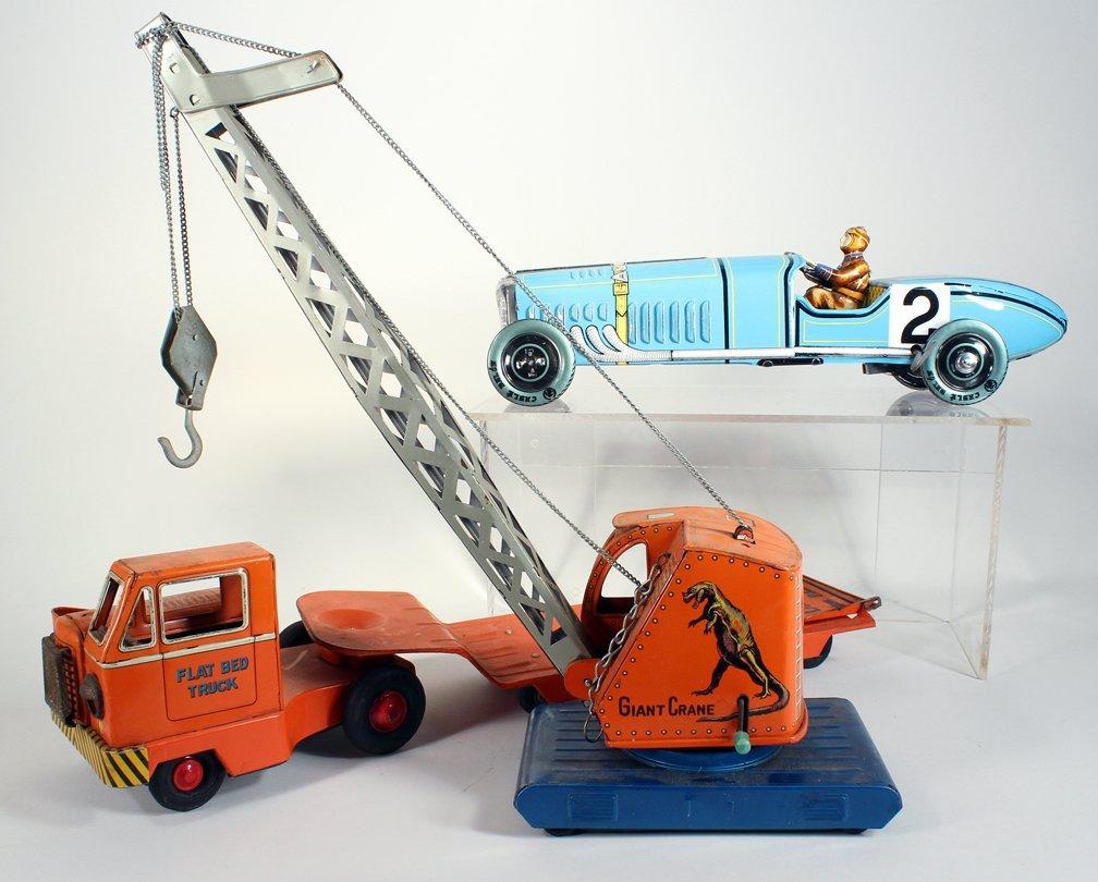 Tin Giant Crane on Flat Bed and Paya Race Car