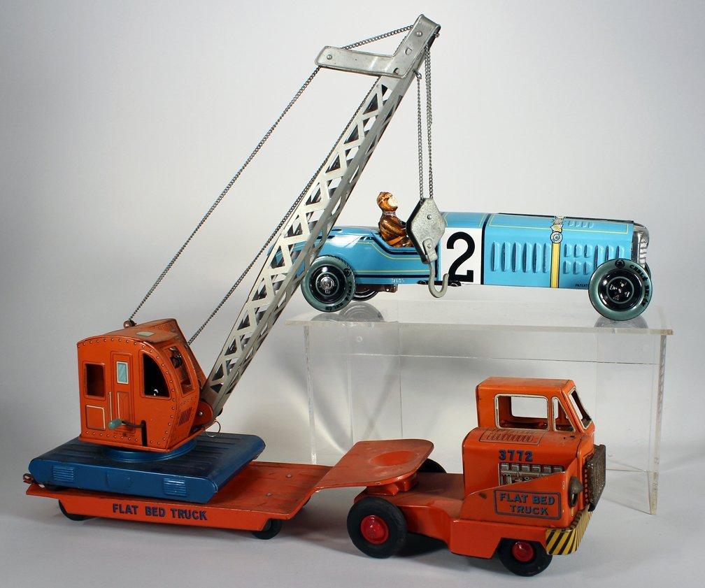 Tin Giant Crane on Flat Bed and Paya Race Car - 2