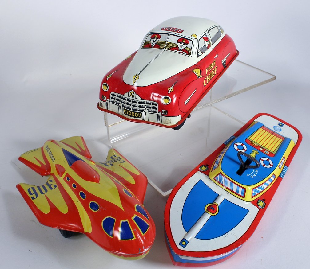Tin Spaceship, Fire Chief Car and Boat
