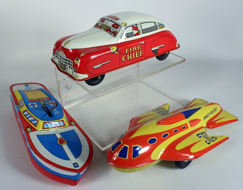 Tin Spaceship, Fire Chief Car and Boat - 2