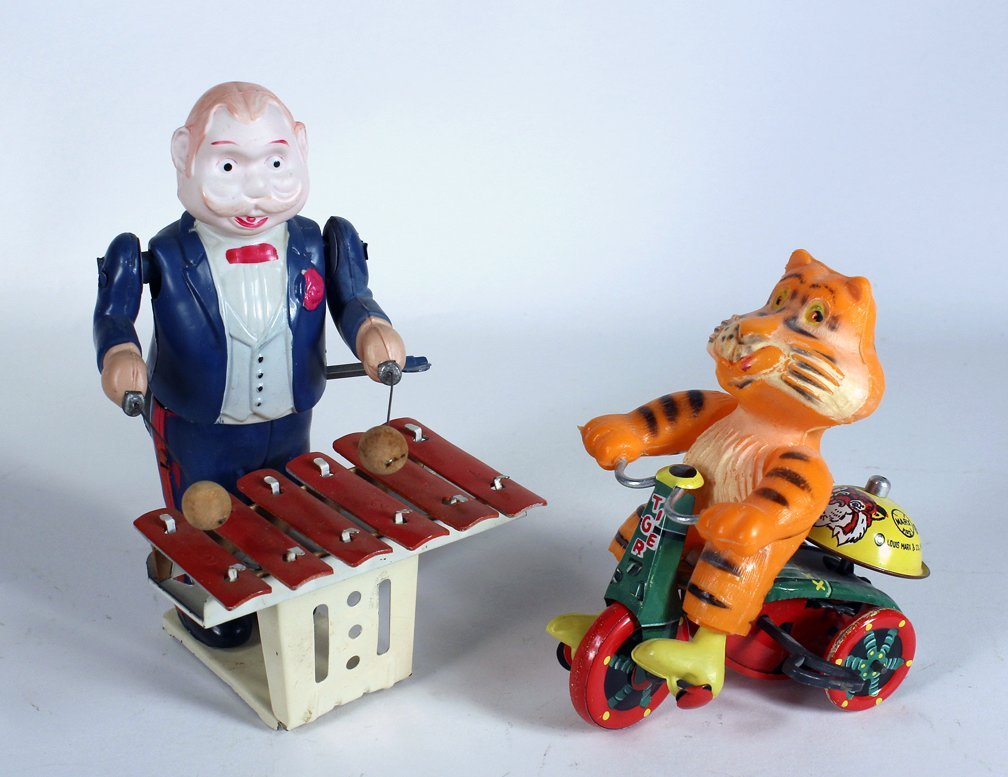 Japan Celluloid Xylophone Player and Tiger on Trike