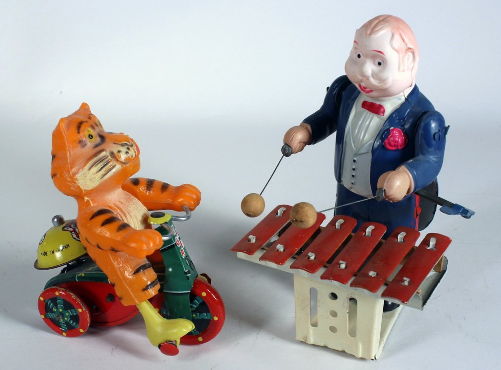 Japan Celluloid Xylophone Player and Tiger on Trike - 2