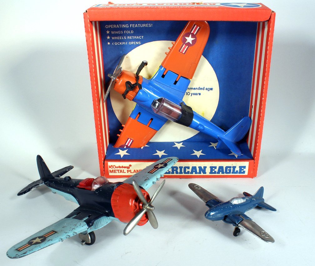 3 Hubley Airplanes Including Mint American Eagle