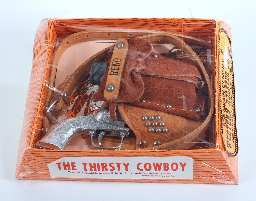 Thirsty Cowboy Reno Cap Gun, Flask, Holster Mint - 2