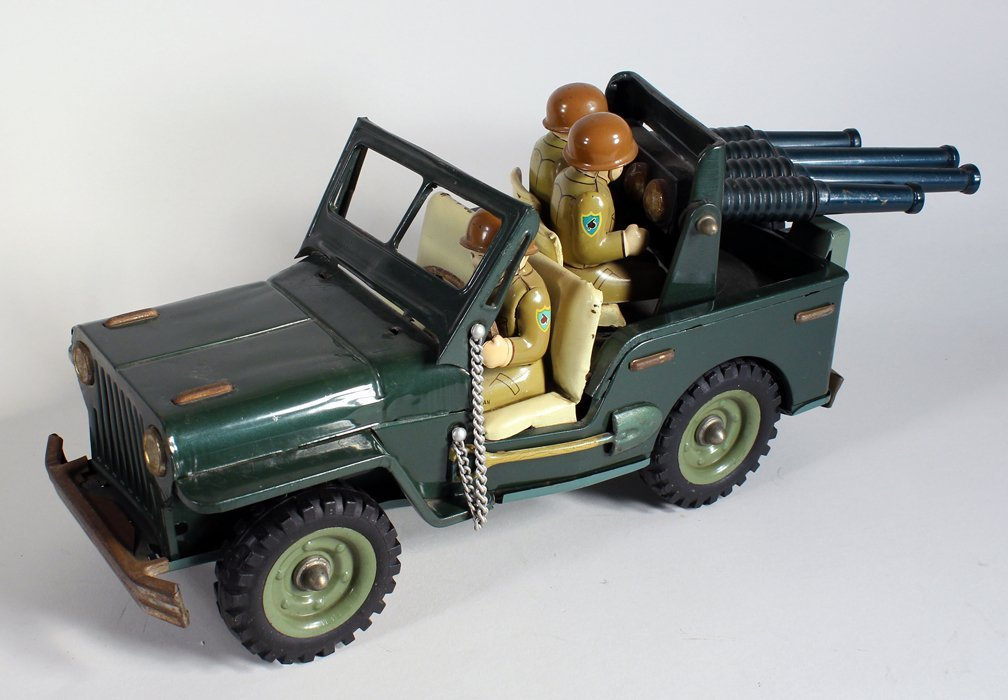 Japan Tin Anti-Aircraft Army Jeep With 3 Soldiers - 2