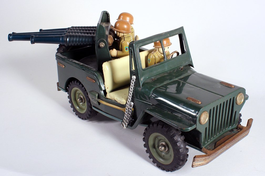 Japan Tin Anti-Aircraft Army Jeep With 3 Soldiers - 3