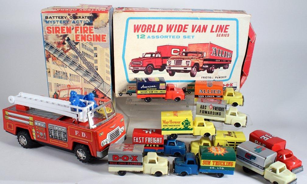 Japan Tin Fire Engine & Van Line Fleet Set In Box