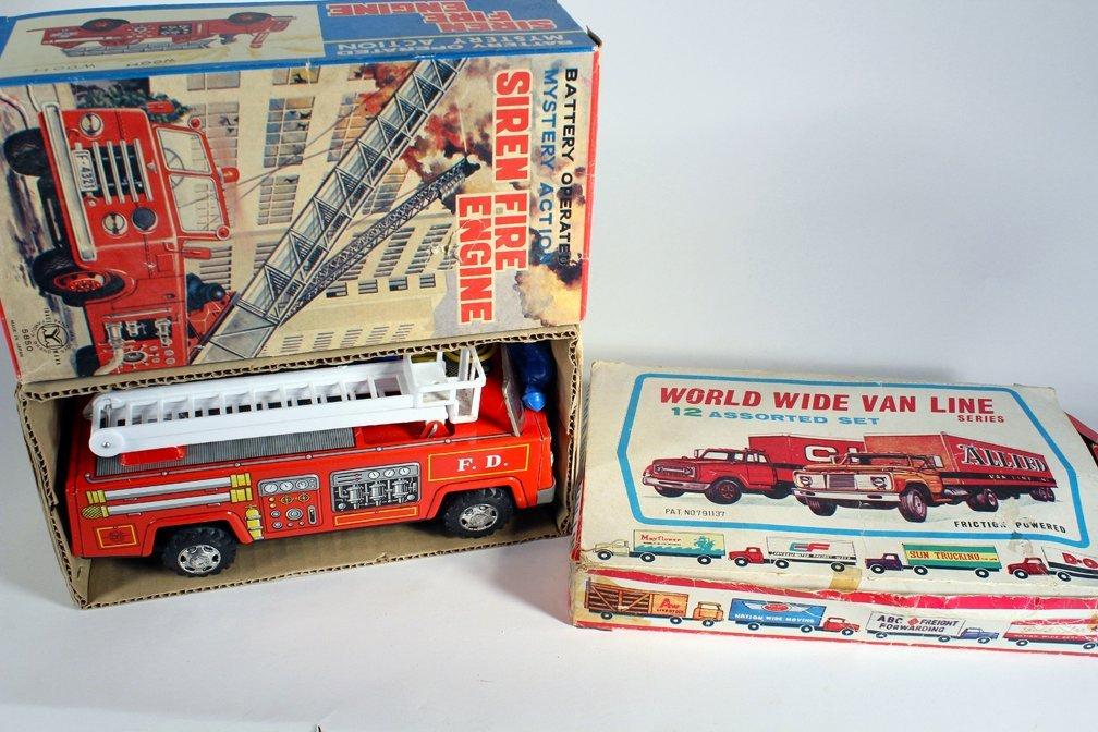 Japan Tin Fire Engine & Van Line Fleet Set In Box - 2