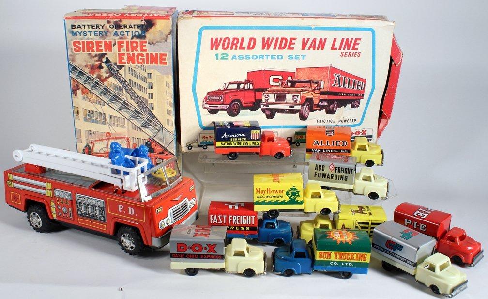Japan Tin Fire Engine & Van Line Fleet Set In Box - 3