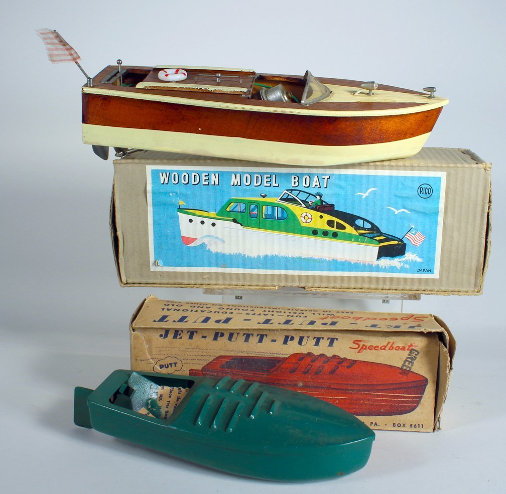 Rico Japan Wooden Boat In Box & Jet Speedboat in box