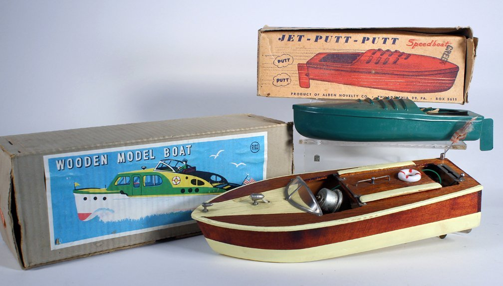 Rico Japan Wooden Boat In Box & Jet Speedboat in box - 2