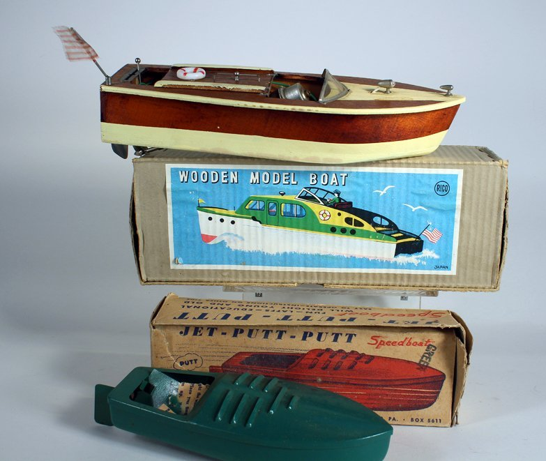 Rico Japan Wooden Boat In Box & Jet Speedboat in box - 3