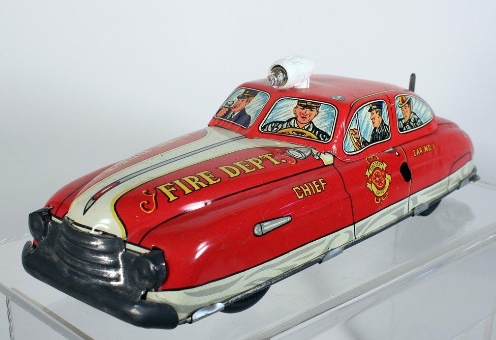 Marx Tin Light Up Fire Chief Car