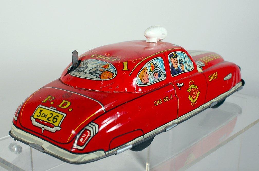 Marx Tin Light Up Fire Chief Car - 2