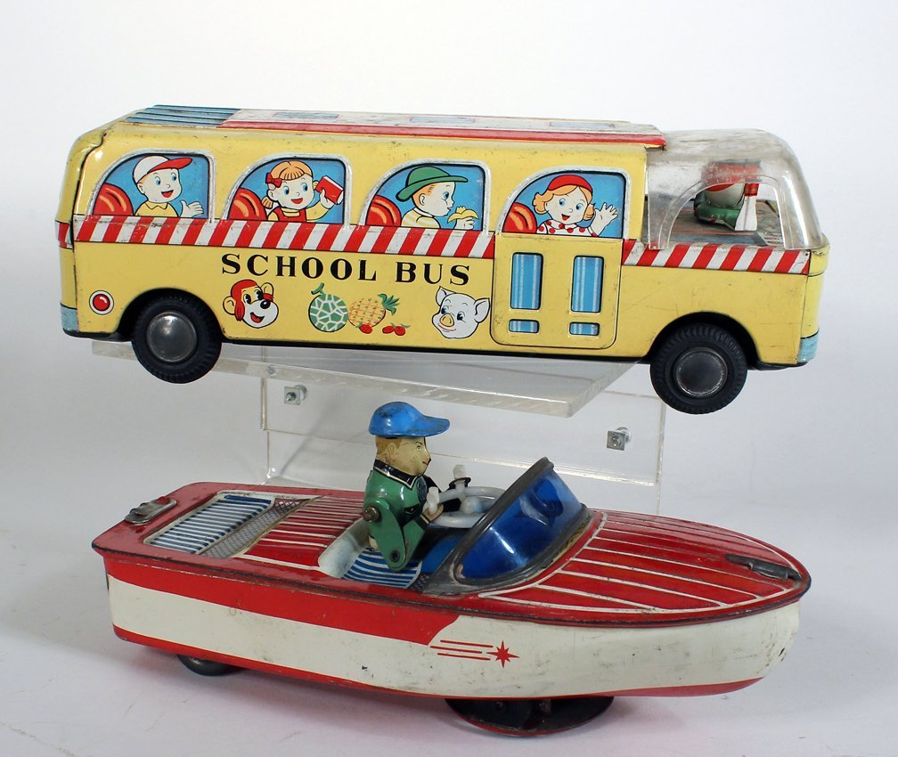 Japan Tin Crank Driving Boat and School Bus - 2