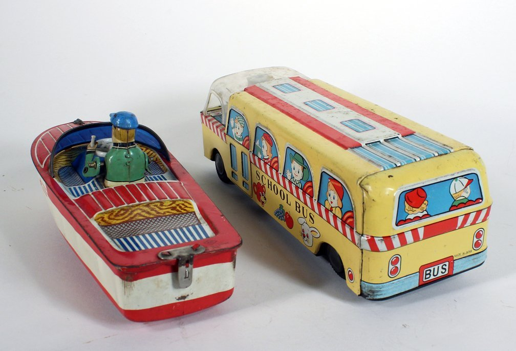Japan Tin Crank Driving Boat and School Bus - 3