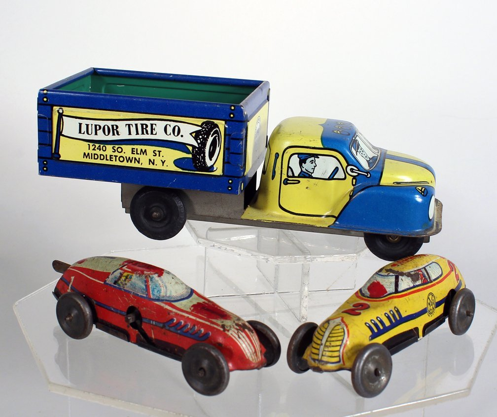 Lupor Advertising Tin Truck, & Marx Race Cars - 2