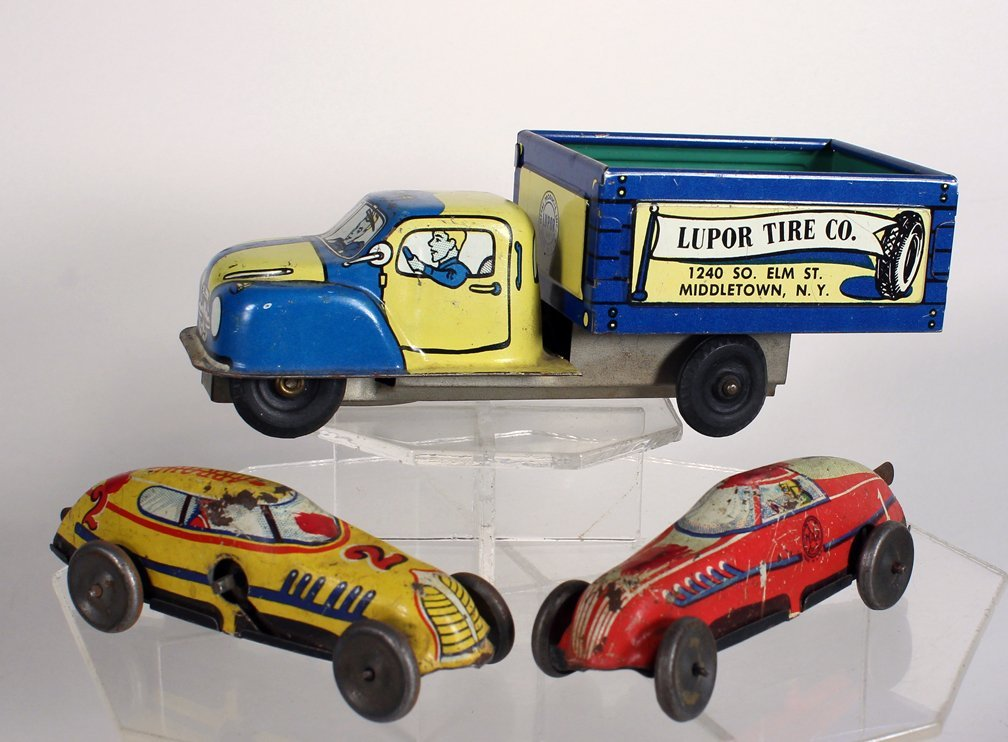 Lupor Advertising Tin Truck, & Marx Race Cars - 3