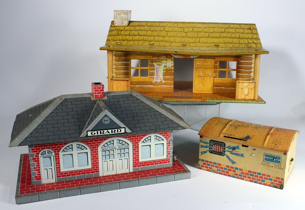 Marx Schuco & Girard Tin Buildings Garage & Train